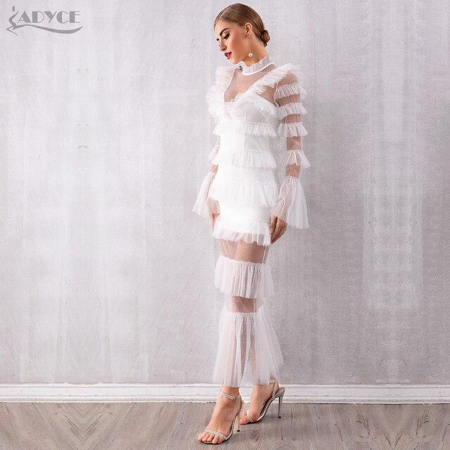 Adyce 2019 New Autumn Maxi White Fashion Women Dress Luxury Lace Ruffle Club Dress Vestidos Sexy Long Sleeve Evening Party Dress 3