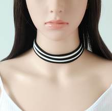 Black White Velvet Choker Necklace Multi Layer Collar Necklace Gothic Choker Jewelry For Women Neckless Vintage Accessories(China)