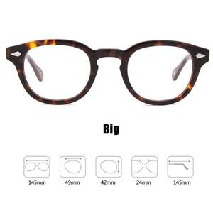 Image 2 - Johnny Depp Glasses Men Women Computer Goggles Round Transparent Eyeglass Brand Design Acetate Style Vintage Frame sq004