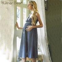 Humor Bear Maternity 2018 New Fashion Style V Neck Striped Chiffon Pregnant Women Dress Maternity Clothes