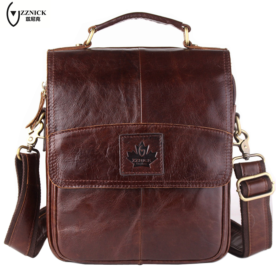 ZZNICK Genuine leather men bags