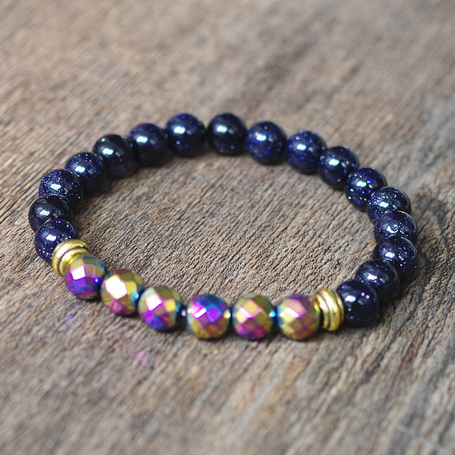 8MM Blue Sandstone Multicolor Hematite Beads Strand Bracelet For Women Jewelry Charm Bracelet Gift