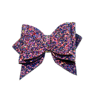 10pcs leather glitter hair bows Boutique hair bows ribbon hair bows for girl