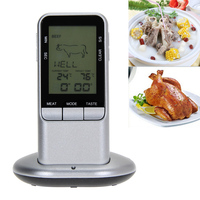 LCD Wireless Barbecue Timer Food Cooking Thermometer Digital Sensor Probe Meat Thermometer BBQ Temperature Gauge