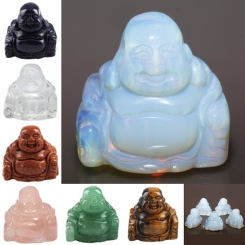 TUMBEELLUWA Gem Stone Carved Happy Laughing Buddha Feng Shui Figurines Pocket Statue Specimen Luck Wealth 1.5'' skull figurine natural stone yellow tiger eye crystal carved statue realistic feng shui healing ornament art collectible 2