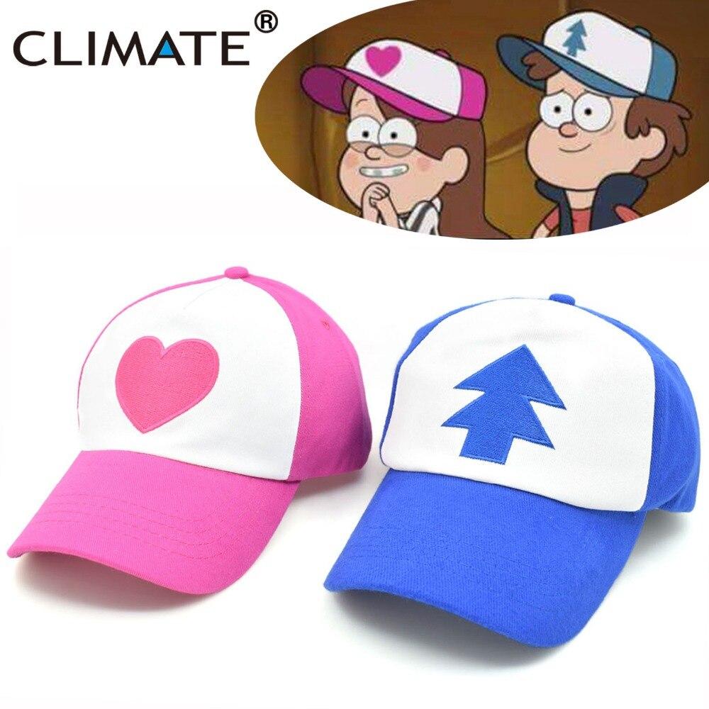 CLIMATE Cool New Spring Summer Gravity Falls U.S Cartoon Mabel Dipper Pines Cosplay Cool Baseball Mesh Caps Adjustable Sport Hat
