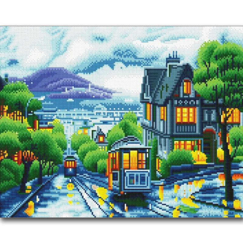 LED licht diamant schilderij landschap DIY 5D diamond frame frame, inclusief frame Boxed gift 40X50 CM-in Diamond Schilderen Kruissteek van Huis & Tuin op  Groep 1