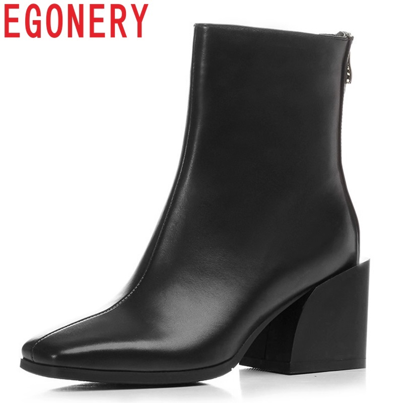 EGONERY women shoes newest genuine leather high quality high square heel zipper square toe fashion black and white ankle boots