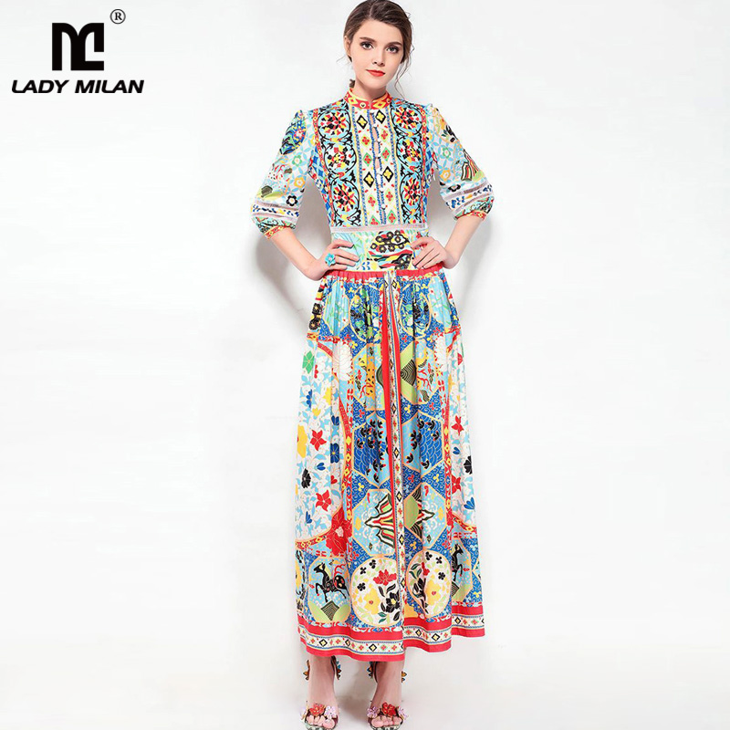 New Arrival 2018 Womens O Neck 3/4 Sleeves Printed Drop Waist Ruched Fashion Long Designer Runway Dresses