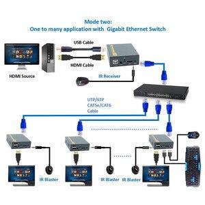 Image 3 - 2020 150 メートルhdmi usbエクステンダーRJ45 ipネットワークkvmオーバーipエクステンダー以上Cat5 Cat5e Cat6 hdmi kvmエクステンダーとによるir utp/stp