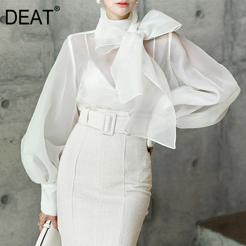 DEAT 2020 New Spring Summer Fashion Women Clothing Bow Collar Lantern Sleeves Organza Sexy Shirt Female Blouse WD35100L
