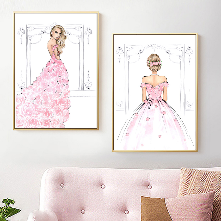 Watercolor Fashion Girl Pink Rose Wedding Dress Wall Art Canvas Painting Nordic Posters And Prints Wall Pictures For Living Room in Painting Calligraphy from Home Garden