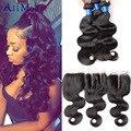 Peruvin Body Wave With Closure 7A Peruvian Human Hair Weave 3 Bundles With Closure Peruvian Virgin Hair Body Wave With Closure