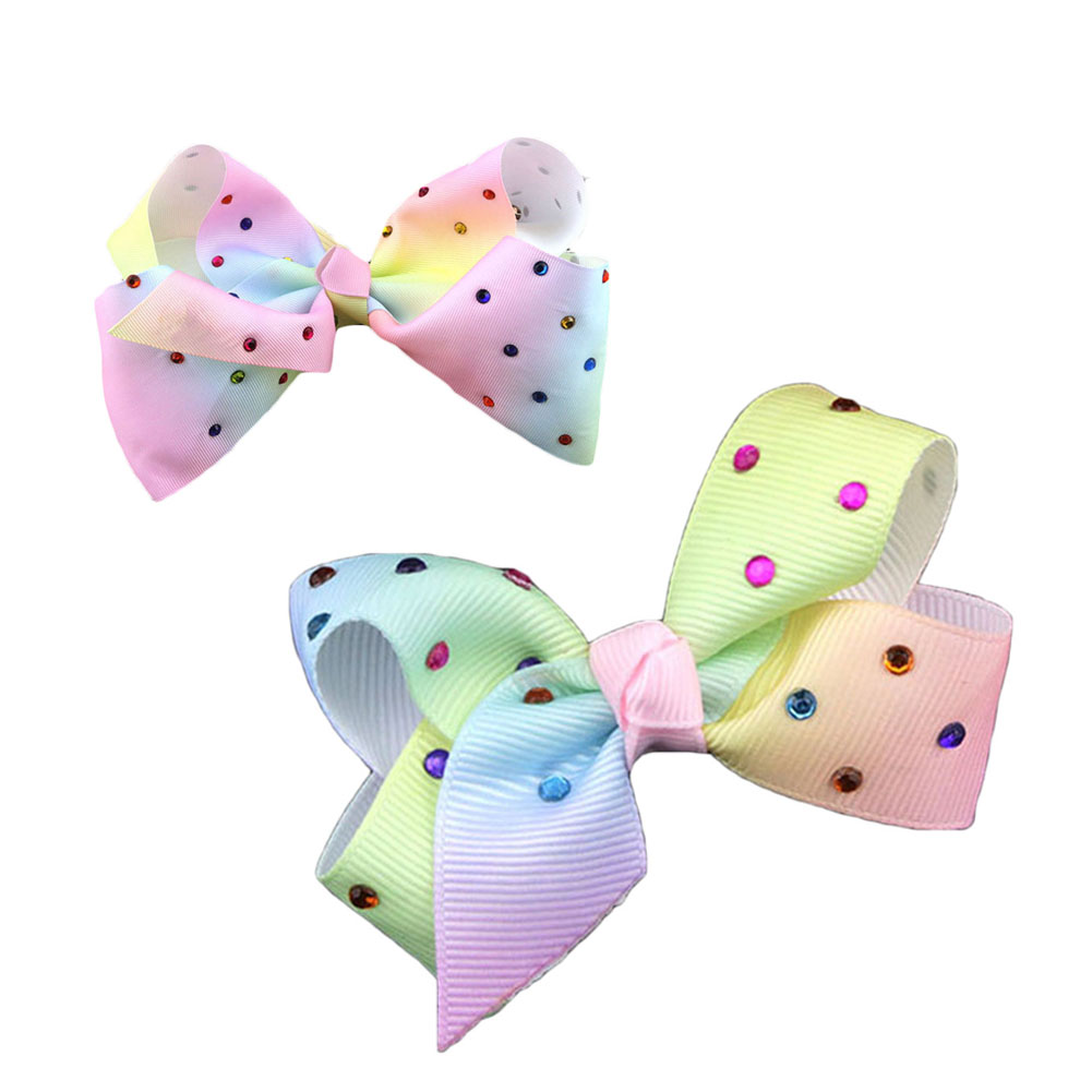 1Pc Fashion Rainbow Bow Hair Clips With Rhinstones Boutique Sweet Hair Bow Knot Hairpins Kids Girls Hair Accessoriesl