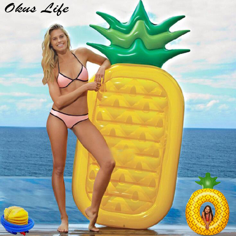 180cm Pineapple Inflatable Pool Float Foldable Outdoor Big Pineapple Swimming Laps Inflatable Beach Lounger Floating Bed Chair