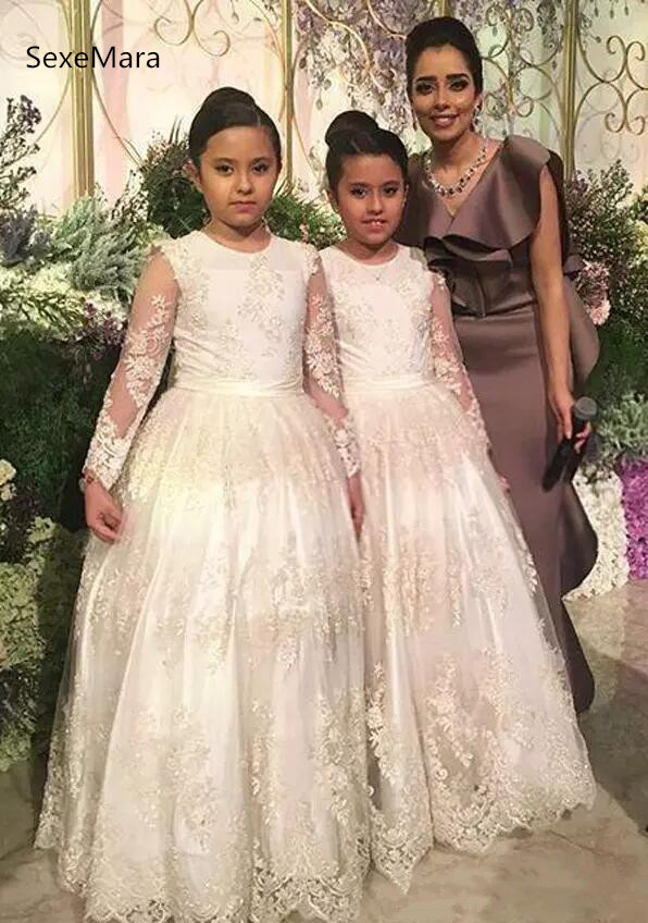 Long Sleeves Flower Girls Dresses Jewel Neck Ivory Tulle with Lace Zipper Back Floor-Length 2018 Princess Wedding Party Gowns stylish jewel neck long sleeves single breasted bowknot coat for women
