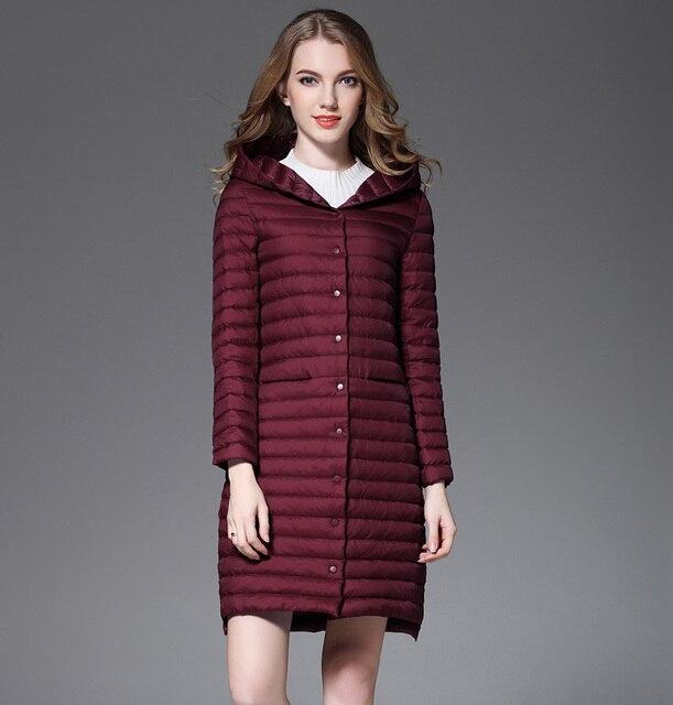 73ee89c28db Новое осеннее пальто женское белое пуховое длинное пальто женское с  капюшоном ультра легкие стеганые куртки зимнее