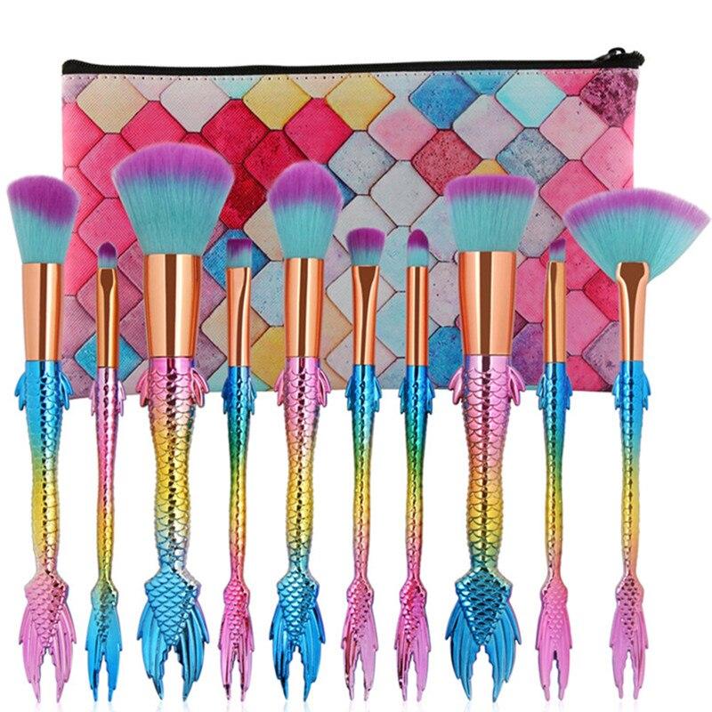 10Pcs Pro Mermaid Brush Set With Makeup Brush Pouch Beauty Fish Tail Contour Lip Eyebrow Powder