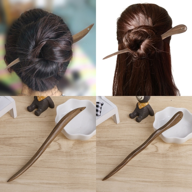 Classic Women Hairpin Natural Wood Jewelry Vintage Ebony Hair Sticks Home Simple Hair Accessory gai