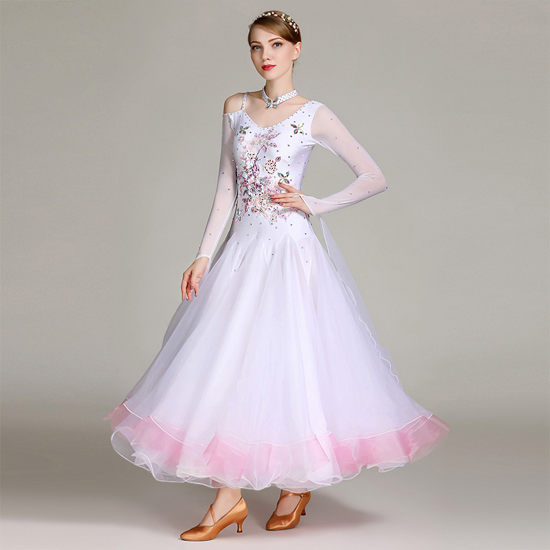 2018 NEW S7020 Modern Dance Costume Women Lady Adult Waltzing Tango Ballroom Dance Competition Costume Dress Evening Party Dress 2017 new women ballroom dance dress organza sexy backless standard performance competition jazz waltz tango fox trot jigs suits