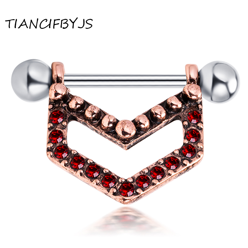 Tiancifbyjs 1616Mm 14G Crystal Nipple Ring Rose Flower -3170