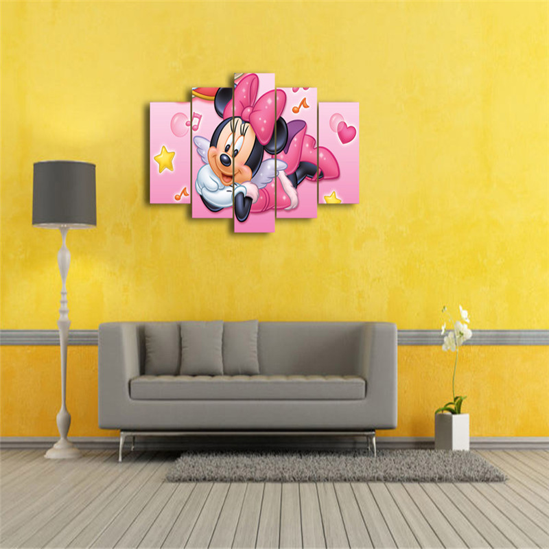 HD Printed Cartoon Minnie Mouse Modern Paintings Unframed Wall Art ...