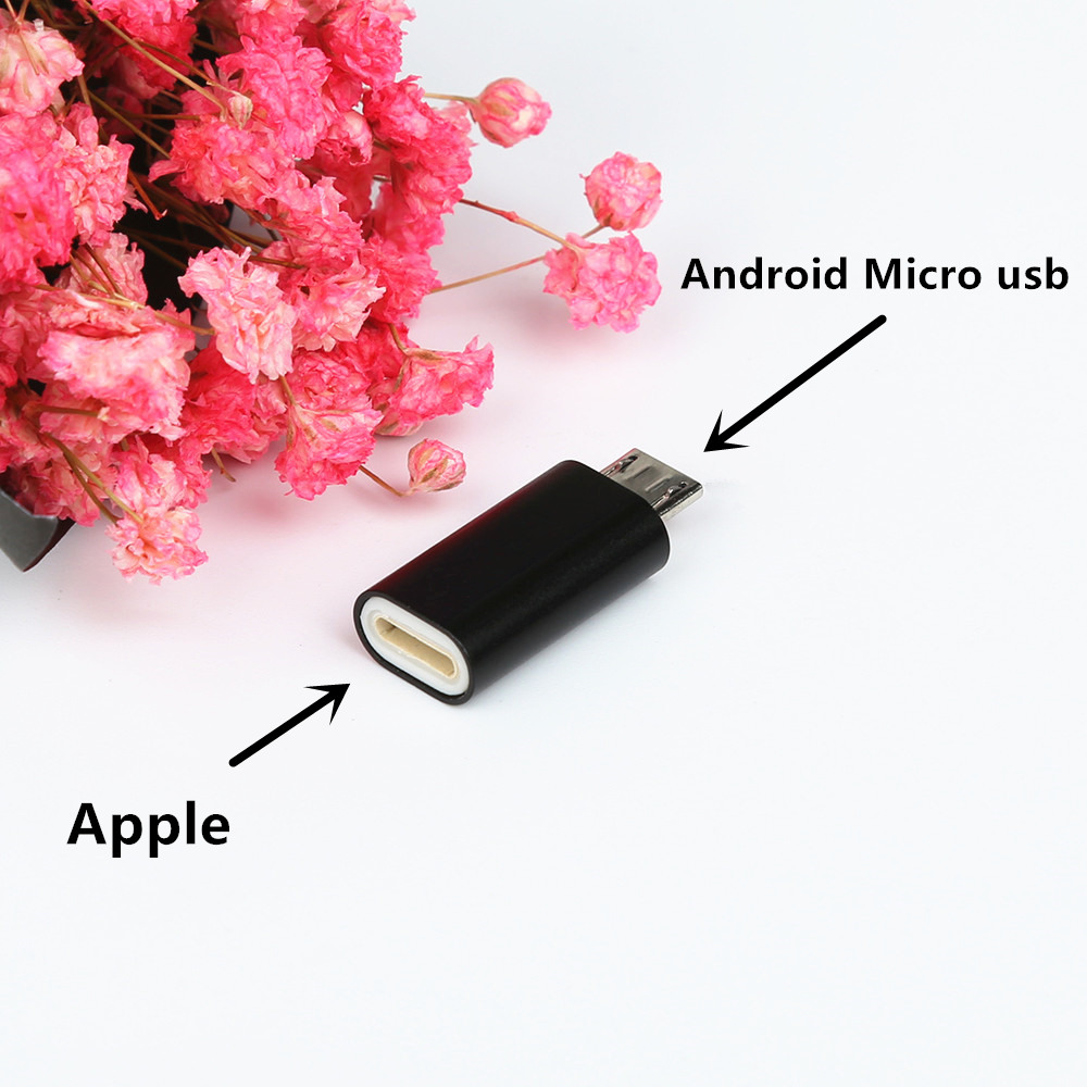 Alloy Micro USB Male To 8 Pin Female USB Cable Converter Charging Connector Small Adapter For Apple Iphone Cable Android Phone