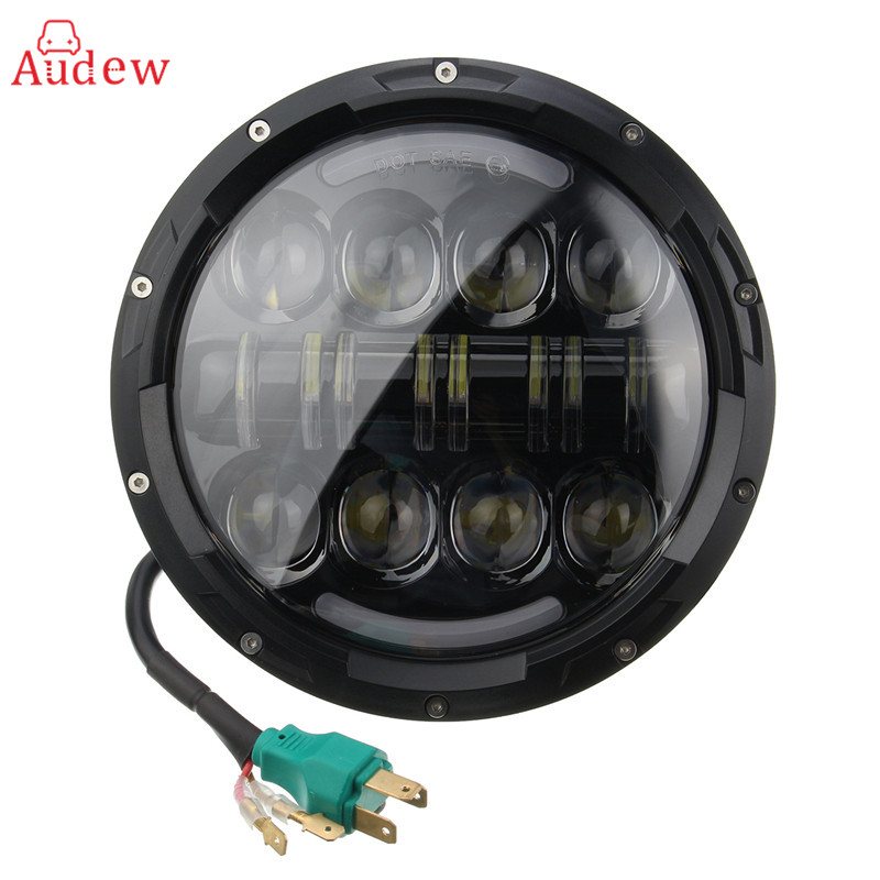 1PCS 7Inch 75W Round LED Headlight 7500LM Hi/Low Beam Head Light with Bulb DRL For Jeep/Wrangler/Land Rover/Harley-Davidson free shipping 7inch round headlight 75w h4 motorcycle round led headlamp daymaker hi low beam head light bulb drl for offroad