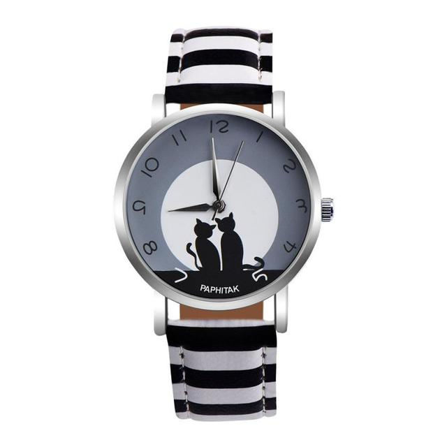 2018 New Fashion Lovely Cat Pattern Casual Leather Band Watches Women Wristwatch