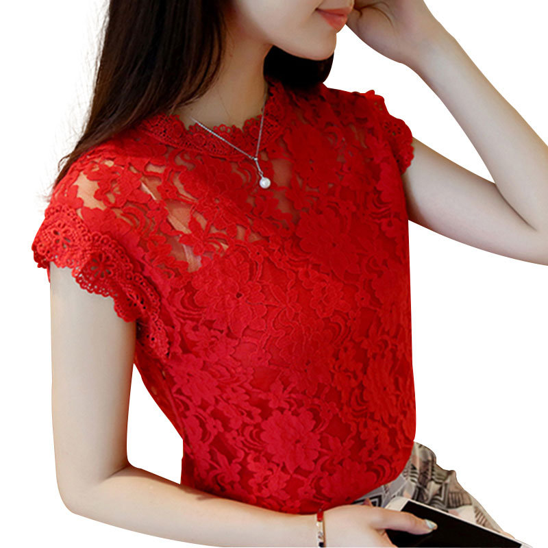 M-5XL Hollow Out Lace Blouse 2018 Elegant Shirt Ladies Tops Crochet Short Sleeve Bottoming Shirts Women Blouses Tops DF1591