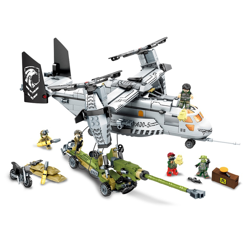 Sembo block 640pcs Helicopter artillery Special forces Military Building blocks kits army soldiers figures bricks toys for kids 8 in 1 military ship building blocks toys for boys