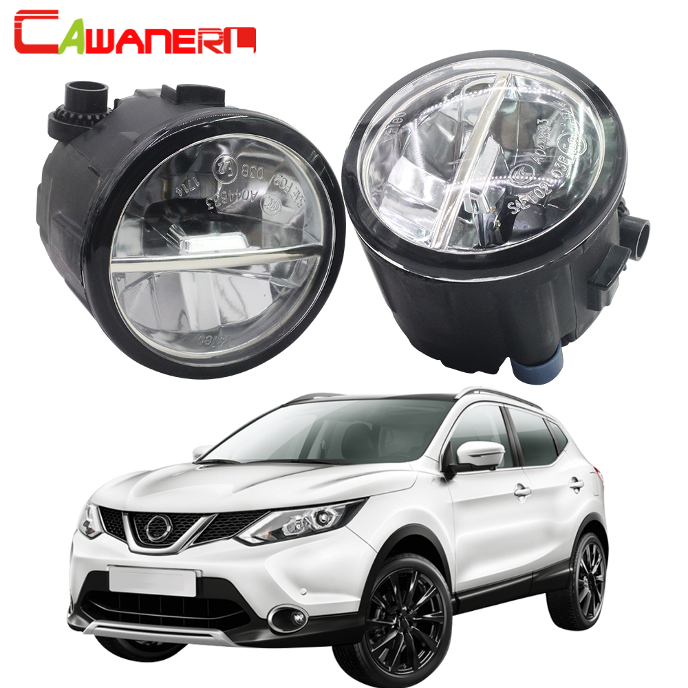 Cawanerl For Nissan Qashqai J11 J11_ Closed Off-Road Vehicle 2013 Onwards Car LED Fog Light 4000LM DRL Daytime Running Lamp 12V