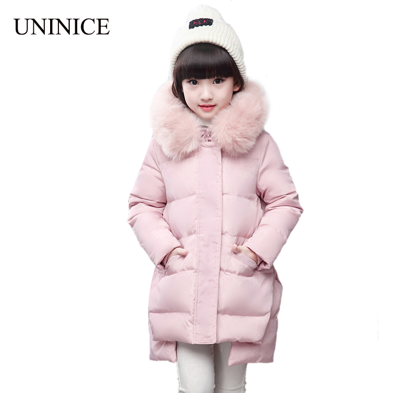 2017 Children Winter Down Jackets For Girls Duck Down Jacket Snow Thicken Fur Collar Hooded Warm Parkas For Girls Winter Coat winter down jacket for girls kids clothes children thicken coats duck down jackets girls hooded bow snowsuits natural fur coat