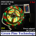 1 set 5M SMD 3528 300 LED RGB led Strip flashlight tape LED Light IP65 Waterproof lighting strip + IR Remote + 2A Power Adapter