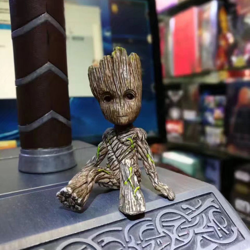6cm Sitting Tree Man Groot PVC Action Figure Guardians of the Galaxy 2 Tree Man Baby Model Toy Desk Decoration Gifts For Kid new arrivals hote cute guardians of the galaxy 2 groot statue figure collectible model toy 9 types children gifts