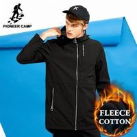 Pioneer Camp Long Waterproof Thicken Warm Fleece Jacket Men Brand Clothing Casual Winter Coat Male Top
