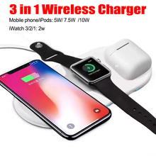 3 In 1 Wireless Charger Station For Iphone X XS Fast Charge Pad Airpods Stand Apple Watch