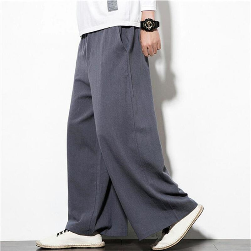 New Vintage Men Wide Leg Pants Natural Breathable Cotton Linen Pants Solid Straight Long Pants Plus Size M-7XL Black Khaki
