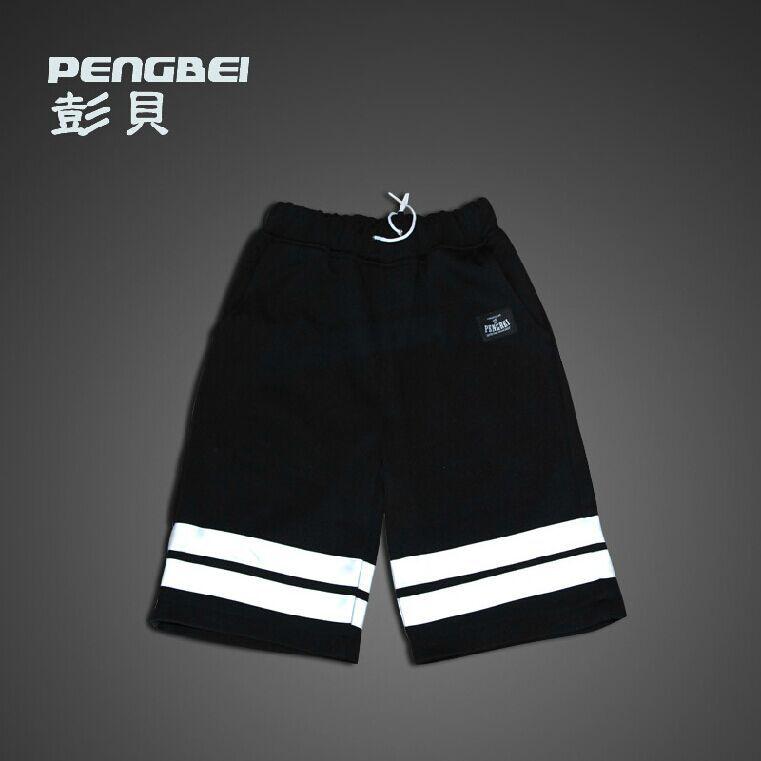 3M Reflective hip hop short pants South Korean Running Men brand jogger shorts mens autumn muay thai Night run gym casual shorts