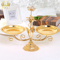 Golden Plate Metal Crystal Serving Tray Decorative For Wedding Party Supplies Compote Cakes Desserts Candy Plate