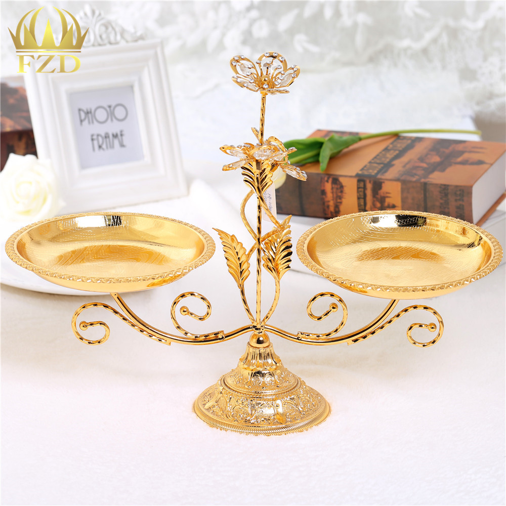 Golden Plate Metal Crystal Serving Tray Decorative for Wedding Party ...