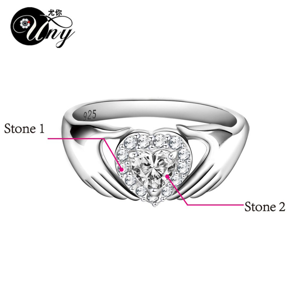 25b87e38a9 UNY Ring 925 Silver Customized Engrave Rings Valentine's Love gift Heart  Birthstone Ring Personalized Gifts Womens Couple Rings