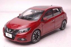 1:18 modelo fundido a presión para Nissan Tiida Versa 2016 rojo Hatchback aleación juguete colección de coches en miniatura regalo Pulsar