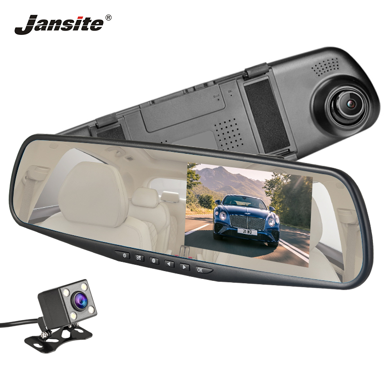 Jansite <font><b>Car</b></font> <font><b>DVR</b></font> Dual Lens Dash <font><b>Camera</b></font> 4.3 <font><b>Inch</b></font> Full HD 1080P <font><b>Car</b></font> <font><b>Camera</b></font> Recorder <font><b>Rearview</b></font> White <font><b>Mirror</b></font> Auto Registrator image