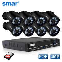 Smar 8CH 4CH 4MP POE NVR Kit H.265 système de sécurité HDMI métal 4MP IR caméra IP de vidéosurveillance extérieure P2P ensemble de Surveillance vidéo 2 to HDD
