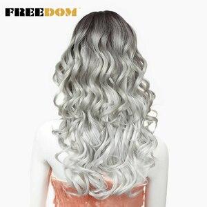 Image 4 - חופש שיער סינטטי פאה עבור נשים 24 אינץ תחרה מול פאות לנשים שחורות ארוך Loose גל חום עמיד סינטטי שיער פאות
