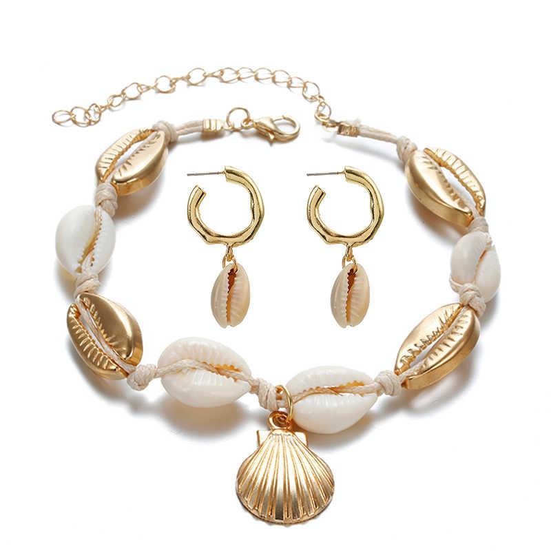 Moda quente concha do mar feminino brincos + tornozeleira conjunto de ouro cor na moda declaração gota balançar brincos para mulher praia conjunto de jóias