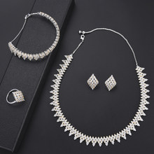 4pcs Fashion Geometric CZ Women Wedding Jewelry Sets Necklace Earrings Bangle Ring jewelry crystal Set Engagement Party Wear(China)