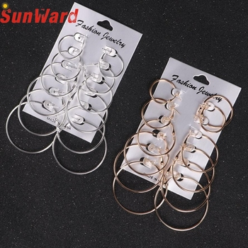 earrings for women 6Pairs/set Vintage Silver Gold Big Circle Women Steampunk Ear Clip Metal  DB11 P30