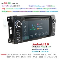 Android9.0 Car Stereo GPS DVD Player for Dodge Ram Challenger Jeep Wrangler JK Head Unit Single Din Touch Screen Indash Radio BT